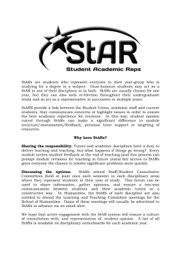 Student Academic Representatives or StARs