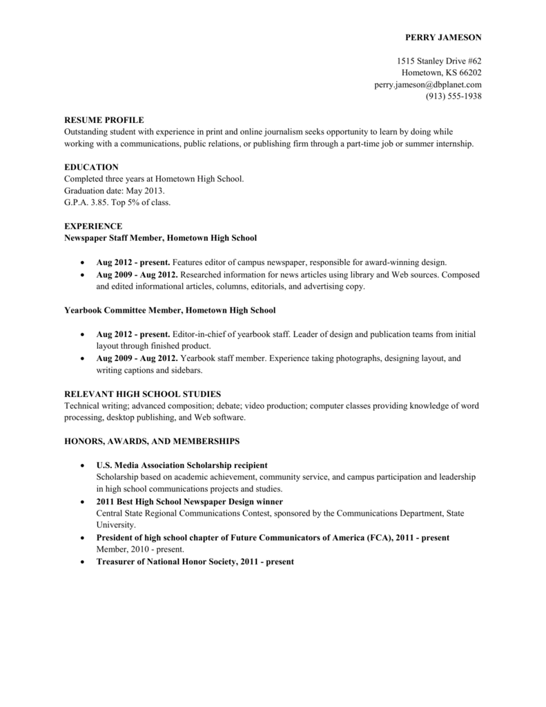 Resume Sample High School Student