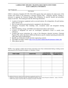 Lab Specific Training Documentation Form