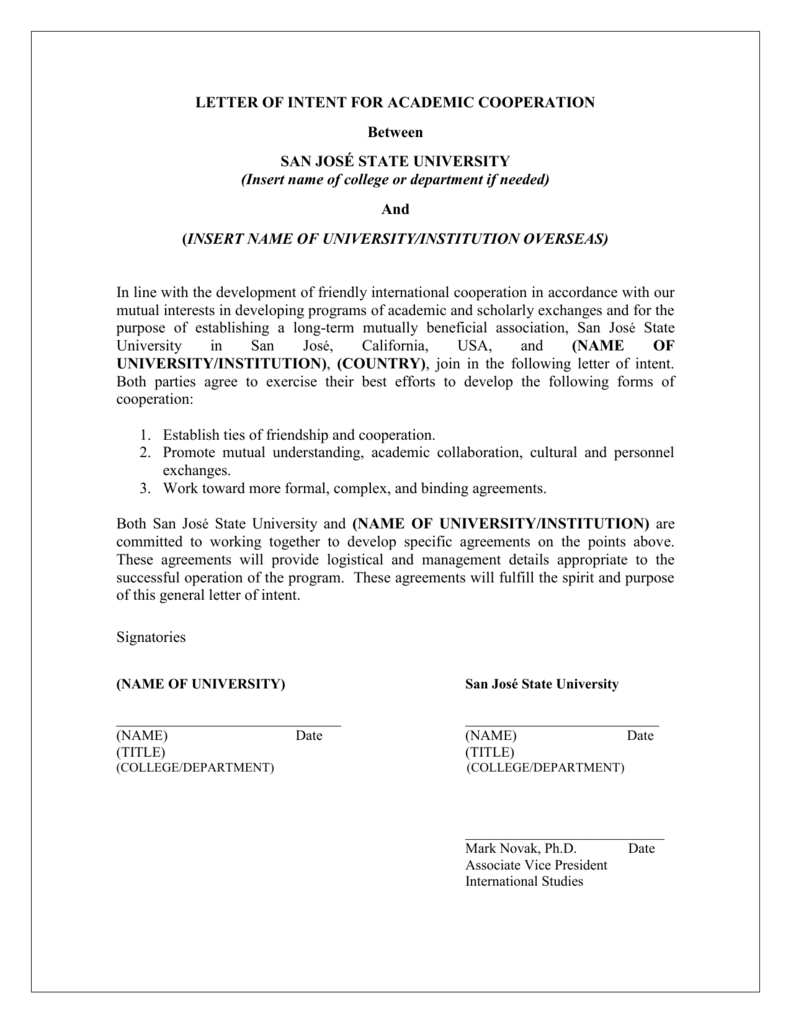 Letter of Intent for Academic Cooperation