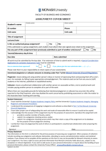 ASSESSMENT COVER SHEET - Faculty of Business and Economics
