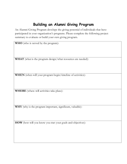 Building an Alumni Giving Program