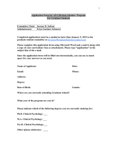 Application Form for Division 39 Graduate Sudent Scholar Award