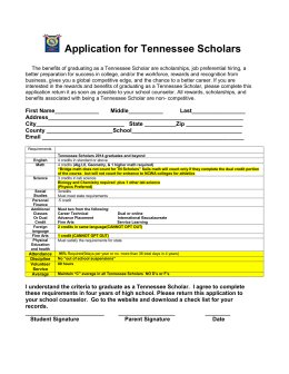 Application for Tennessee Scholars