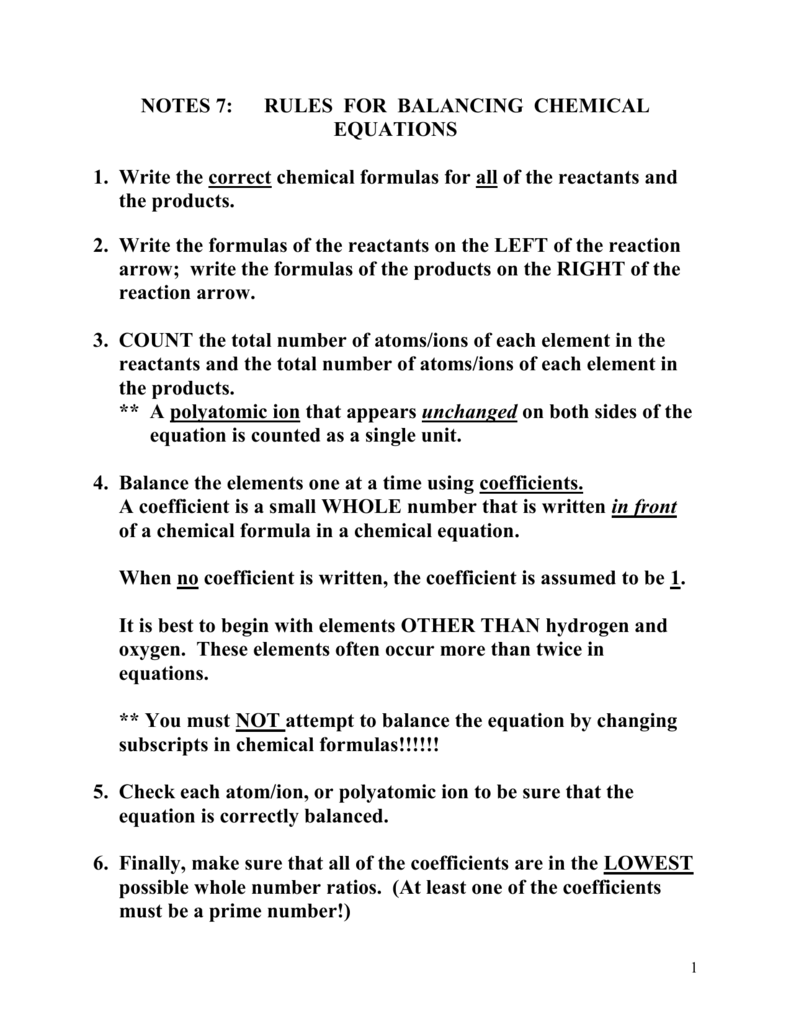 rules for balancing chemical equations