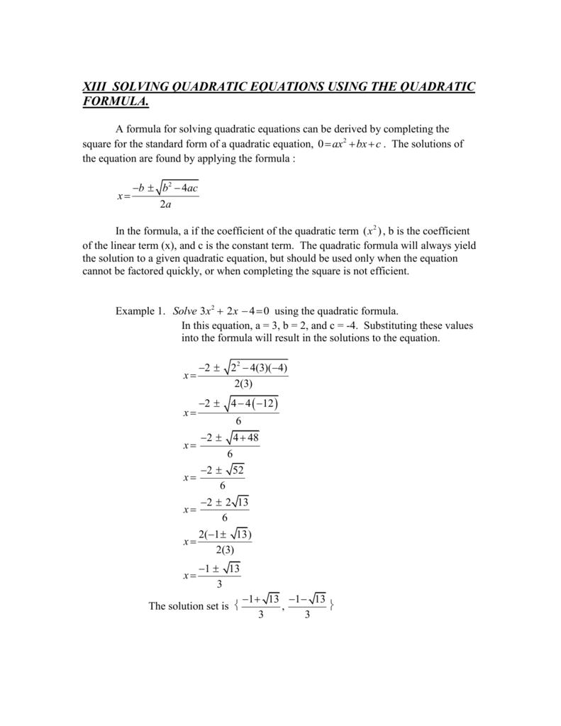 Xiii Solving Quadratic Equations Using The Quadratic Formula