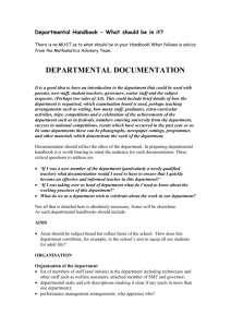 Departmental Handbook - What should go in it?