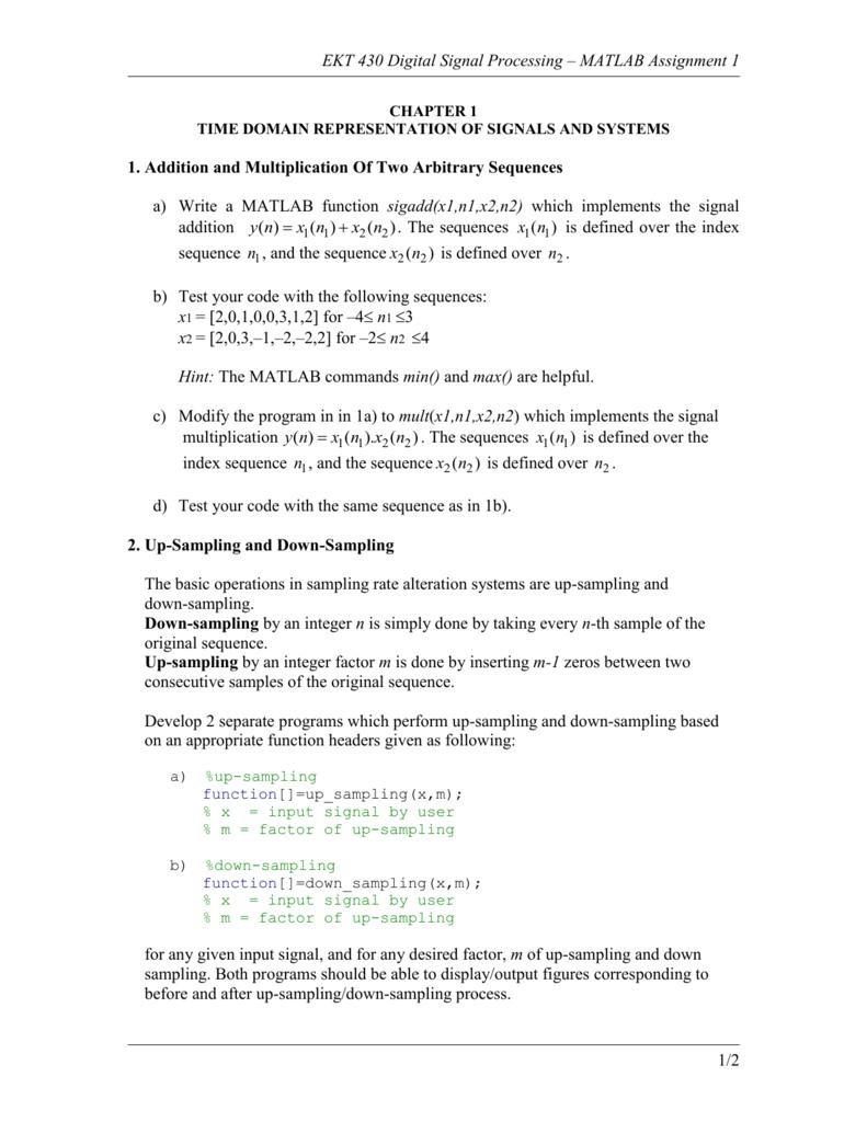 matlab assignment 1