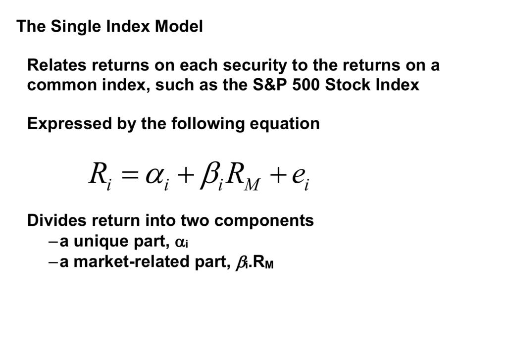Investopedia single index model Sharpe Theory