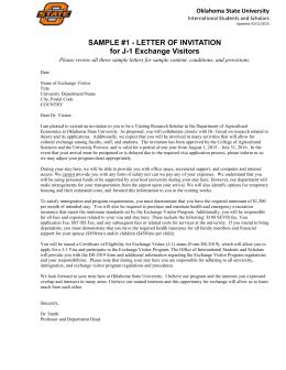 Sample invitation letters international students scholars sample 1 letter of invitation for j stopboris Choice Image
