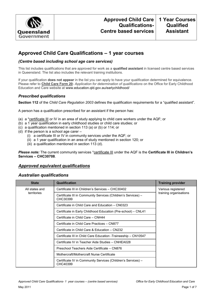 Approved Child Care Qualifications - 1 year courses