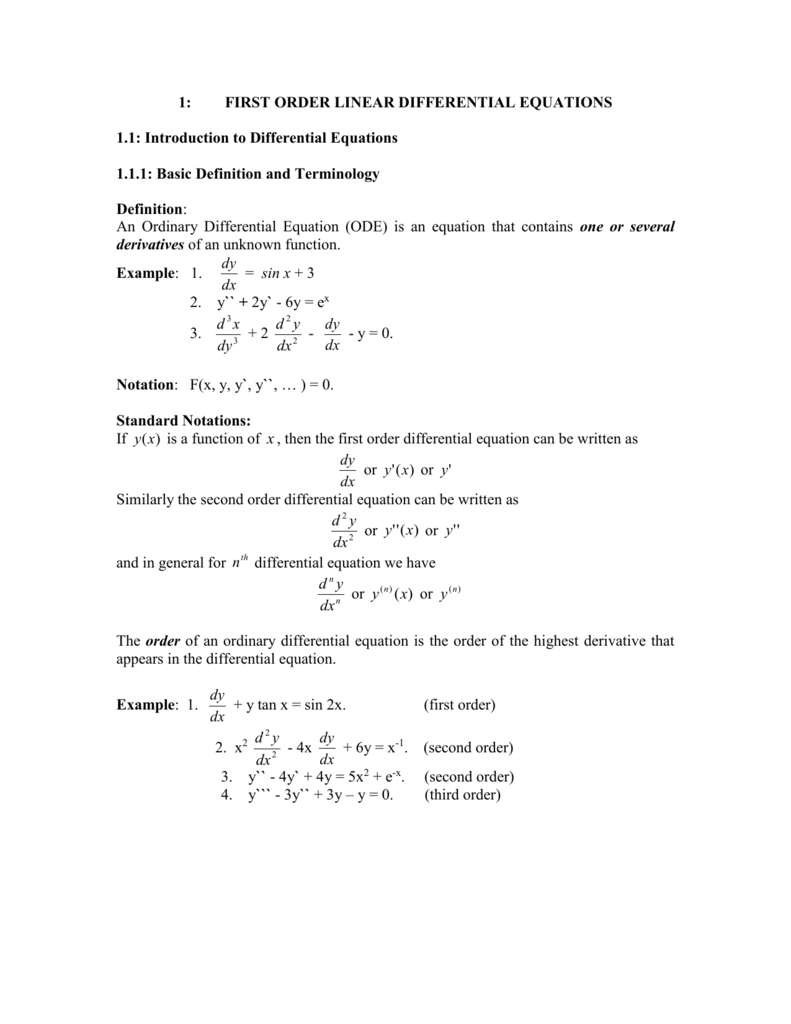 Chapter 1 1st Order Linear Differential Equations
