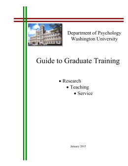 Guide to Graduate Training in Psychology
