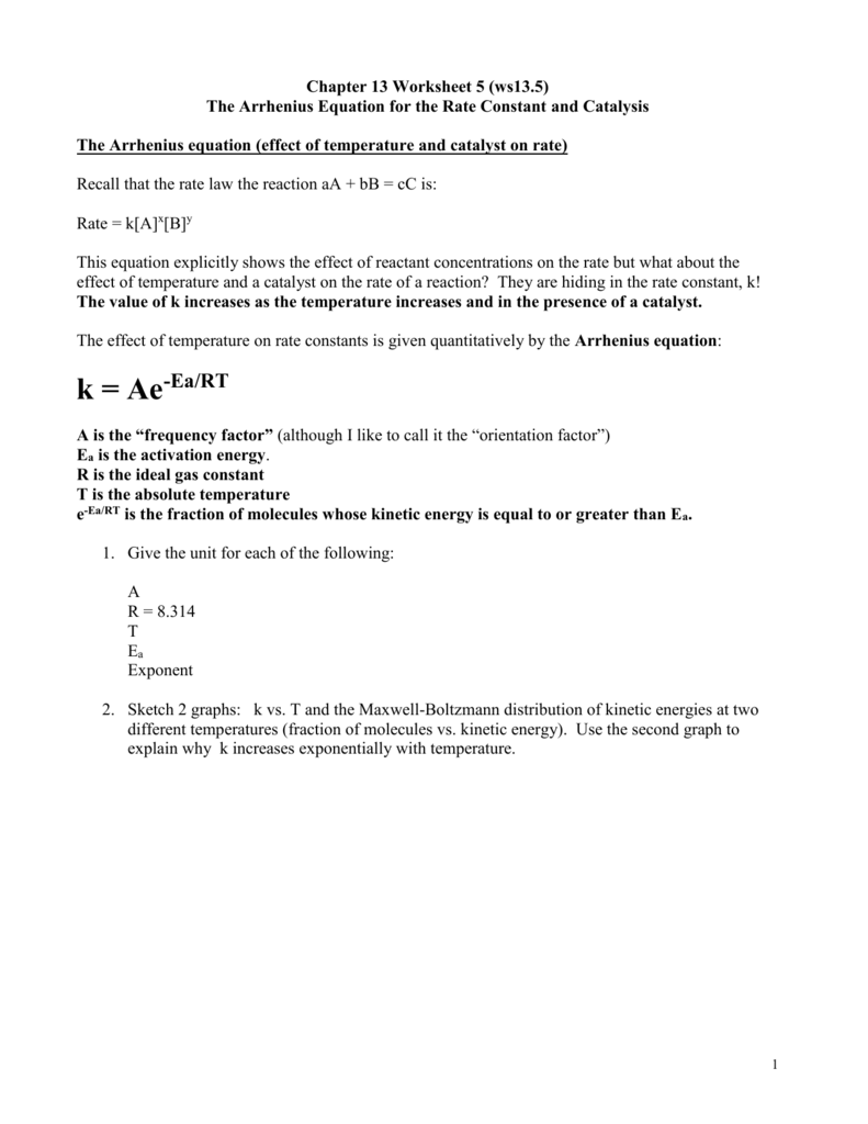 worksheet Step 2 Aa Worksheet arrhenius equation