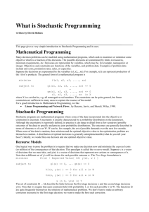 What is Stochastic Programming written by Derek Holmes This page