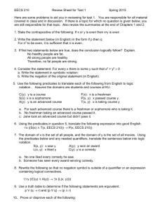 Review sheet for test 1