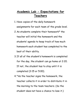 Academic Lab - Expectations for Teachers