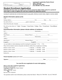 Enrollment Application - Learning for Leadership Charter School
