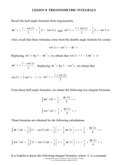 Lesson 8 Trigonometric Integrals