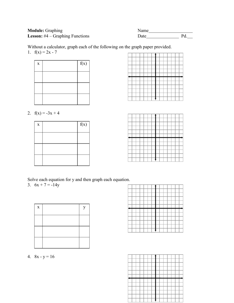 Worksheet 6 4 Graphing Linear