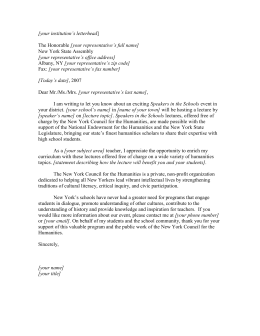 Letter from Project Director asking support for state humanities