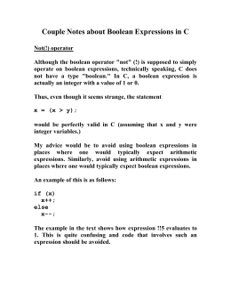 Couple Notes about Boolean Expressions in C