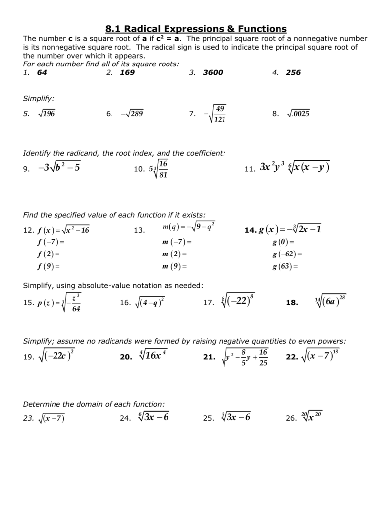 Radical Expressions And Rational Exponents Worksheet ...