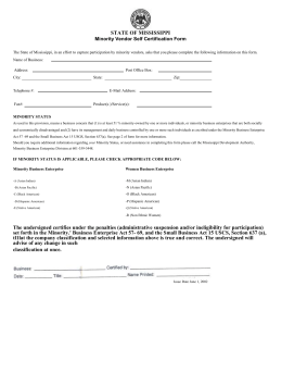 Minority Vendor Self Certification Form