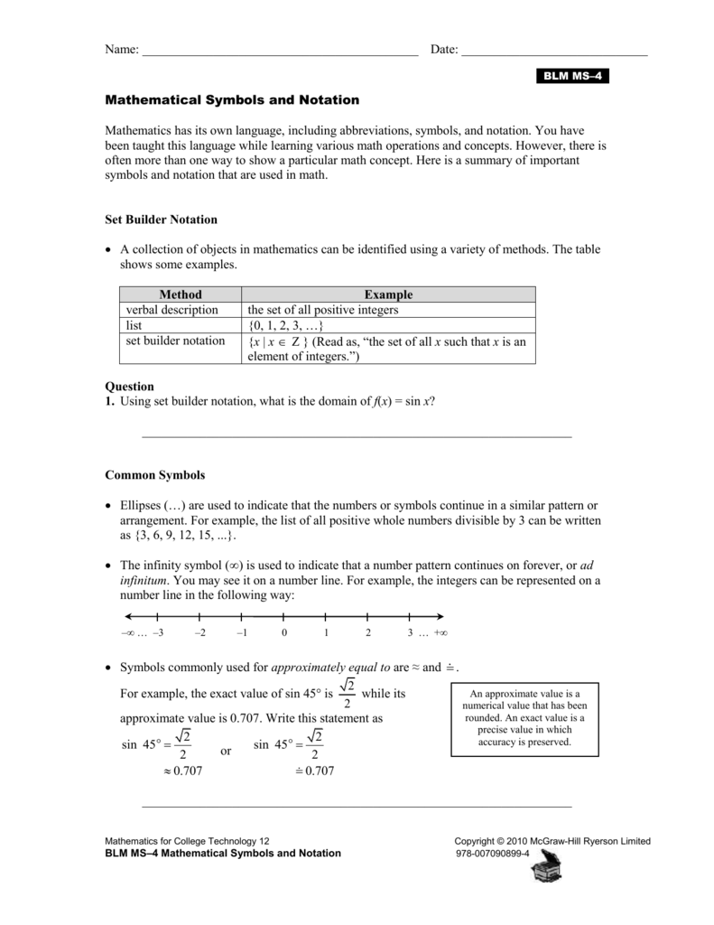 Blm Ms4 Mathematical Symbols And Notation