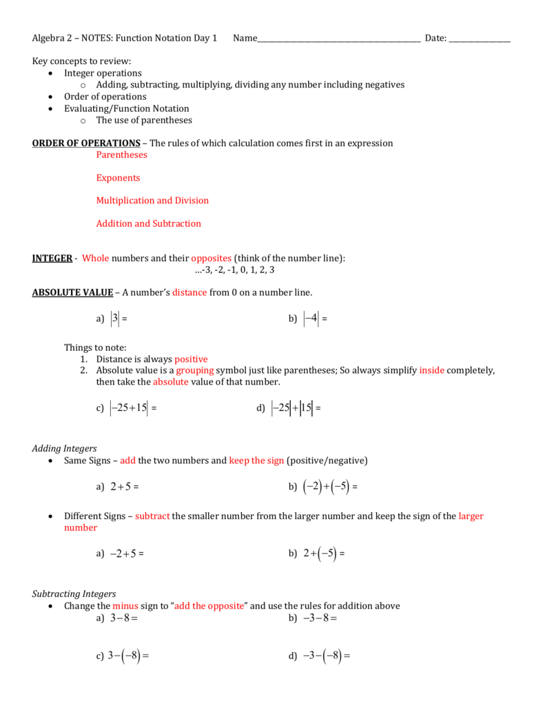 Algebra 2 NOTES Function Notation Day 1 – Algebra 1 Function Notation Worksheet Answers