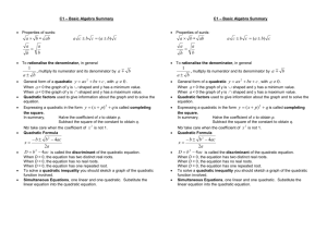 C1 Basic Algebra Summary