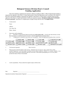 Dean`s Council funding application form.