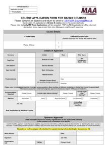COURSE APPLICATION FORM FOR ALL MAA COURSES