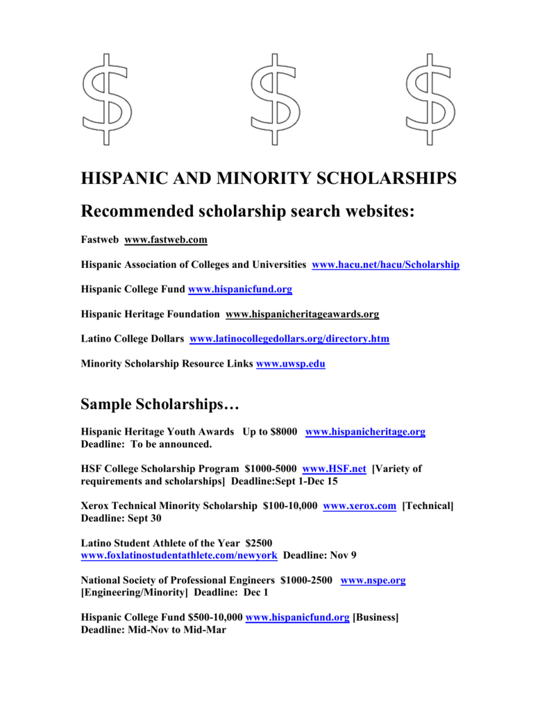 HISPANIC AND MINORITY SCHOLARSHIPS
