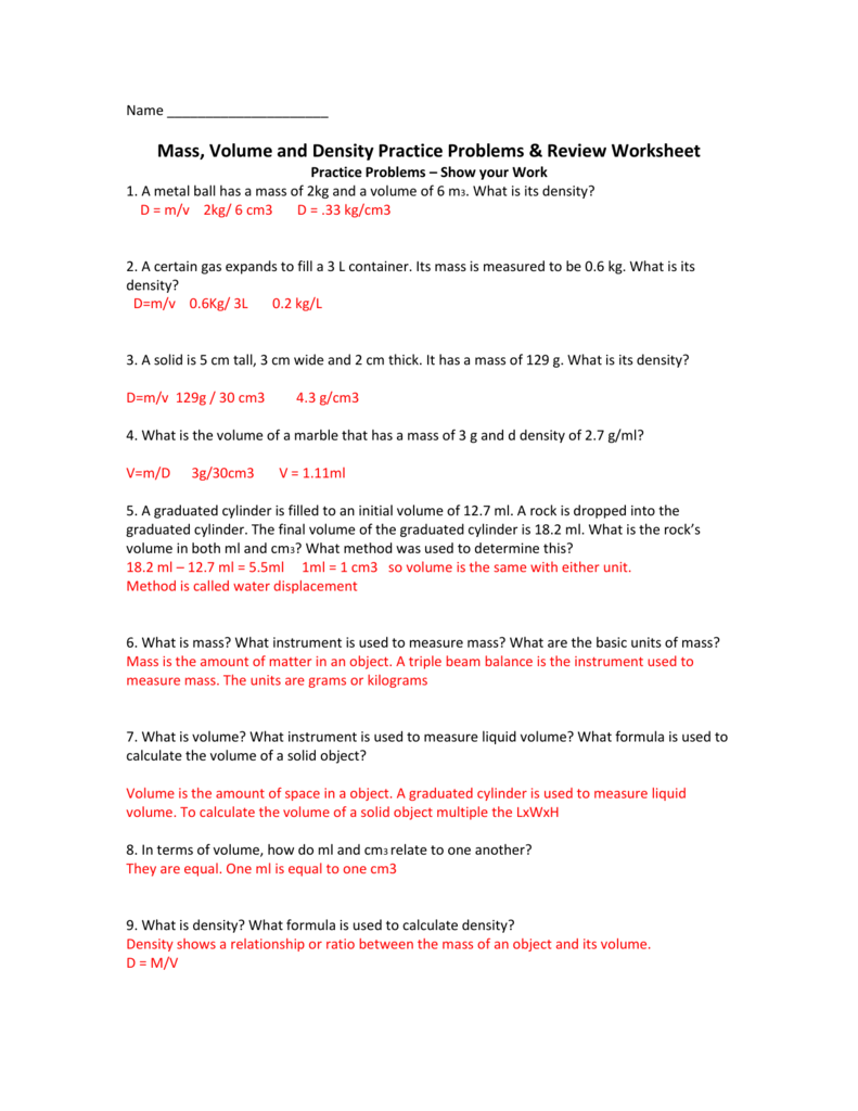 Density test review packet Answer key – Triple Beam Balance Practice Worksheet