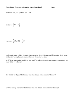 Solve Linear Equations and analyze linear functions 3