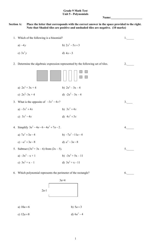 Grade 9 Mathematics Polynomials
