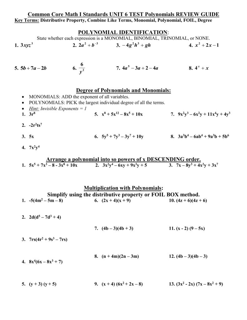 Algebra I Chapter 8