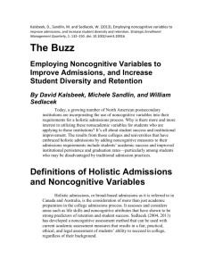 Employing Noncognitive Variables to Improve Admissions