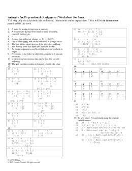Expression & Assignment Worksheet Answers