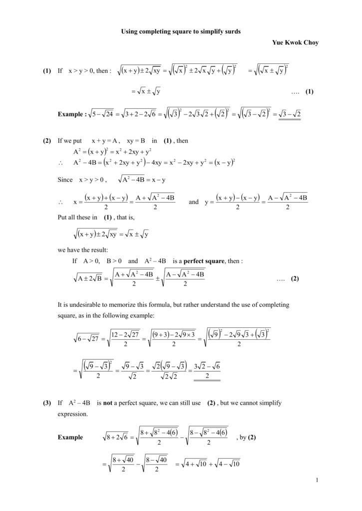 Using completing square to simplify surds, doc