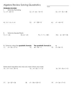 Quadratic Equations Section 1 3