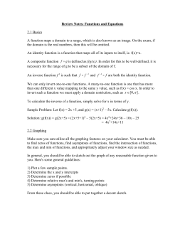 Review Notes: Functions and Equations