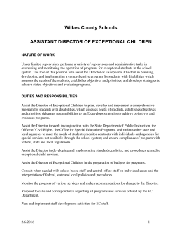 Assistant Director of Exceptional Children