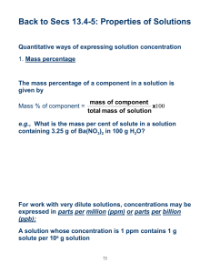 Quantitative ways of expressing solution concentration