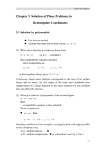 Chapter 3 Solution of Plane Problems in