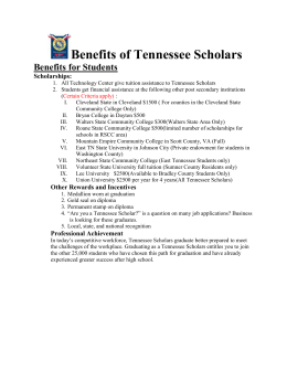 Benefits of Tennessee Scholars Benefits for Students Scholarships