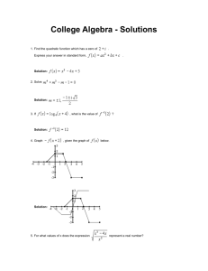 College Algebra Exam Solutions