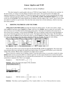 Linear Algebra and TI 89