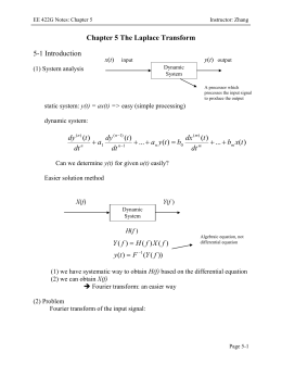 Chapter 5 The Laplace Transform